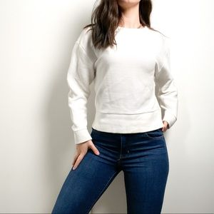 Wilfred Free White Long Sleeve Sweater with Zipper